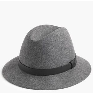 J Crew Classic felt hat with leather band